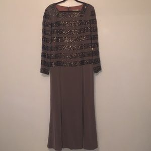 Brown sequin beaded dress
